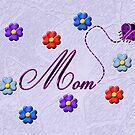 Purple Heart Ladybug Mom Flowers Card by Chere Lei