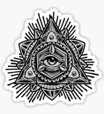 Sacred Trinity Eye BW Sticker