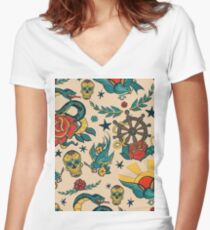 Punk Tattoo Pattern Design and Illustration Women's Fitted V-Neck T-Shirt
