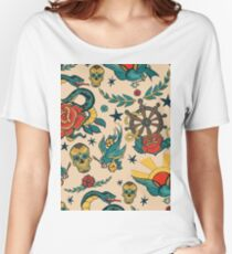 Punk Tattoo Pattern Design and Illustration Women's Relaxed Fit T-Shirt