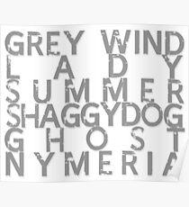 GoT Direwolf Typography (transparent) Poster