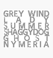 GoT Direwolf Typography (transparent) Photographic Print