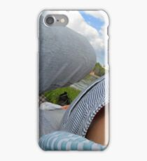 Couple lying on a blanket in the park at a picnic. iPhone Case/Skin