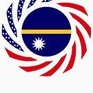 Nauru American Multinational Patriot Flag Series by Carbon-Fibre Media
