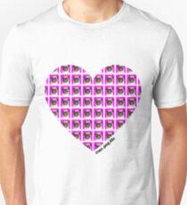 Pink pug tiled heart  Unisex T-Shirt