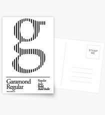 The Letter G Garamond Type Postcards