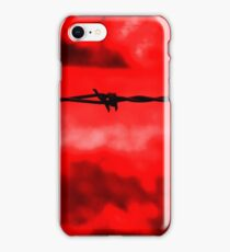 Barbed wire against a red background iPhone Case/Skin