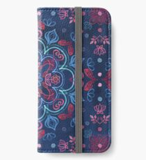 Cherry Red & Navy Blue Watercolor Floral Pattern iPhone Wallet/Case/Skin