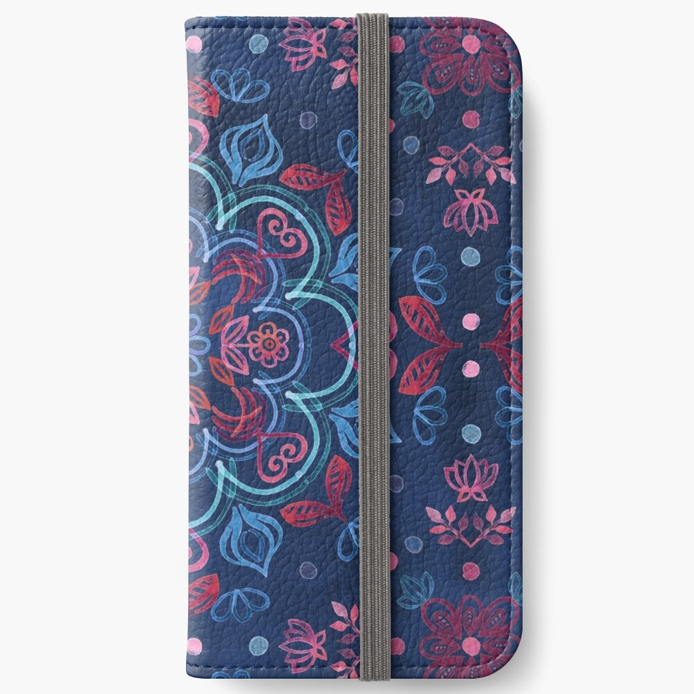 Cherry Red & Navy Blue Watercolor Floral Pattern iPhone Wallet