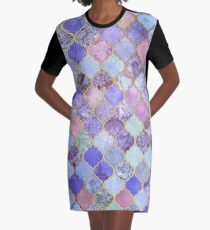 Royal Purple, Mauve & Indigo Decorative Moroccan Tile Pattern Graphic T-Shirt Dress