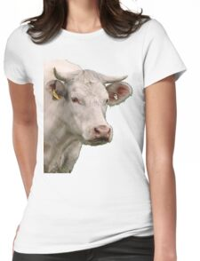 Big white cow Womens Fitted T-Shirt
