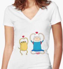 Jake and Finn Women's Fitted V-Neck T-Shirt
