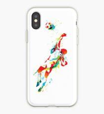 Colorful splash soccer goal keeper iPhone Case