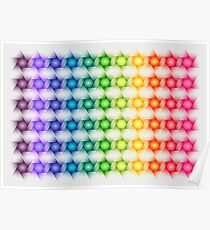 Colorful Geometric Rainbow Star Pattern Poster