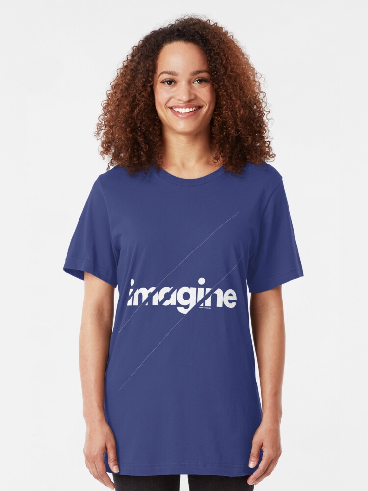 Alternate view of Imagine under stripes /// white version Slim Fit T-Shirt