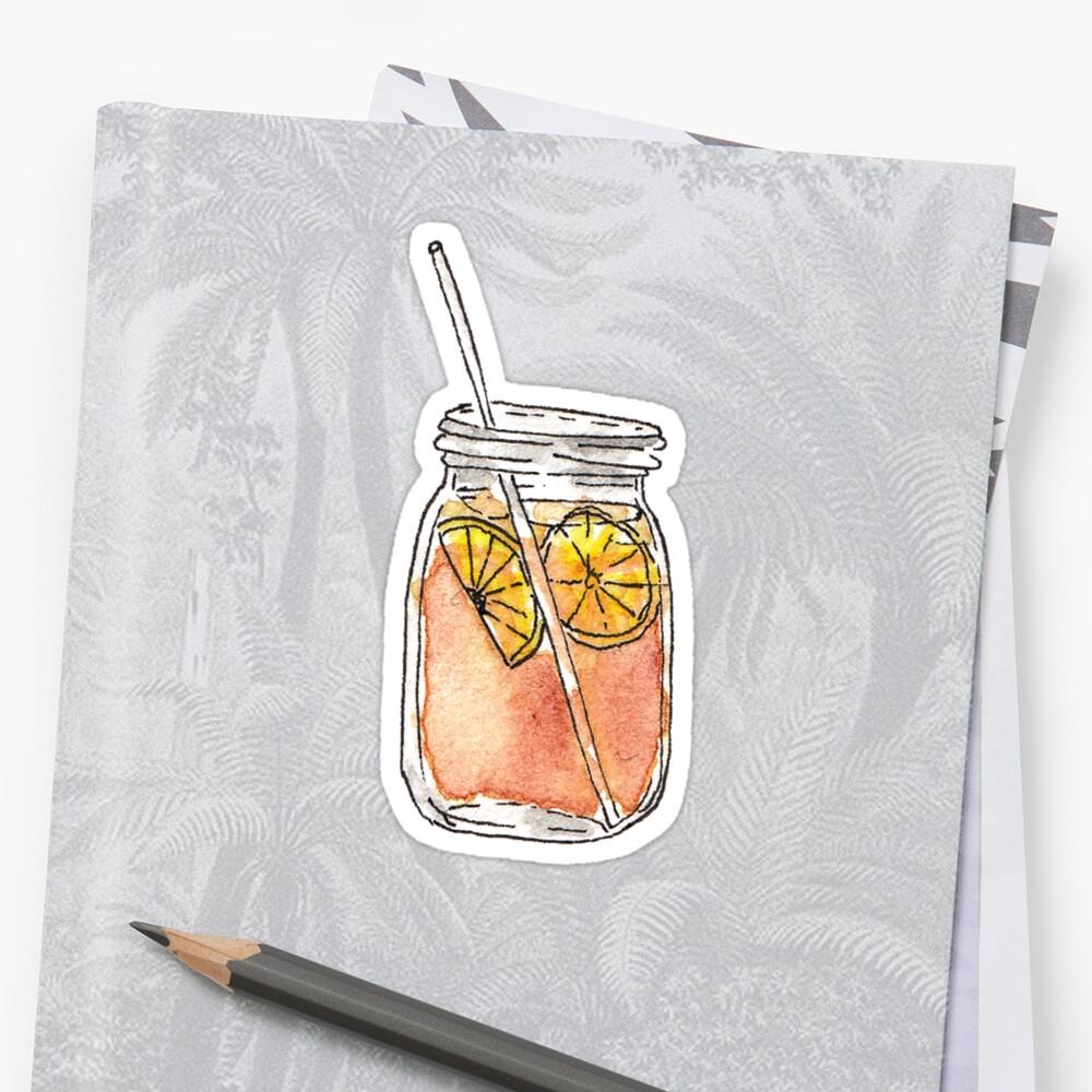PegatinaMason Jar Summer Sun Ice Tea en acuarela Delante