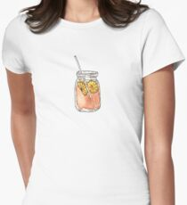 Mason Jar Summer Sun Ice Tea in Watercolor Womens Fitted T-Shirt