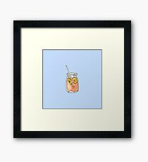 Mason Jar Summer Sun Ice Tea in Watercolor Framed Print