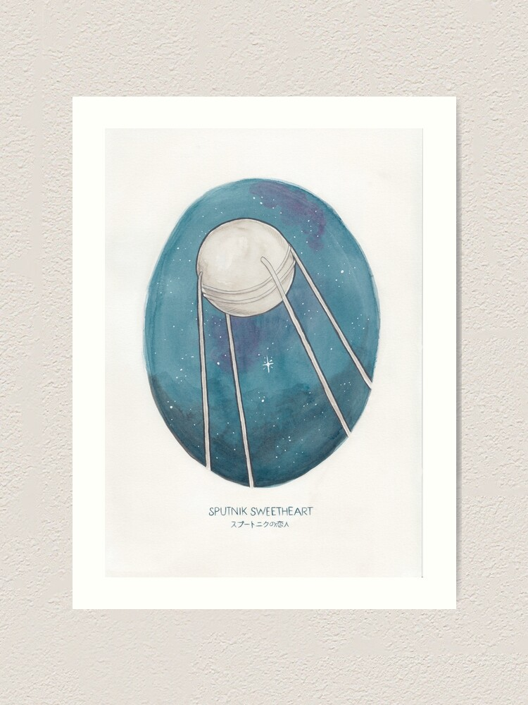 Alternate view of Haruki Murakami's Sputnik Sweetheart // Illustration of the Sputnik Satellite in Space in Pencil & Watercolour Art Print
