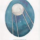 Haruki Murakami's Sputnik Sweetheart // Illustration of the Sputnik Satellite in Space in Pencil & Watercolour by arosecast