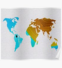 Colorful Art World Map Illustration Blue and Brown Poster