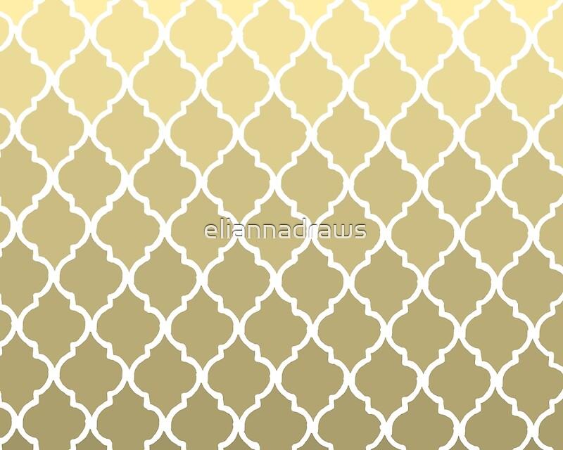 Moroccan Pattern - Gold & White\