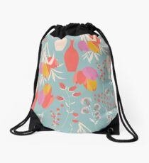 Spring flower pattern, tulips and lilies, 004 Drawstring Bag