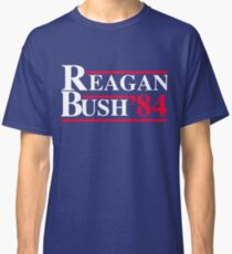 Reagan Bush '84 Retro Logo Red White Blue Election Ronald George 1984 84 Campaign T Shirt Hoodie Sticker Retro 80s 1980s Throwback Classic T-Shirt