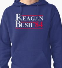 Reagan Bush '84 Retro Logo Red White Blue Election Ronald George 1984 84 Campaign T Shirt Hoodie Sticker Retro 80s 1980s Throwback Pullover Hoodie