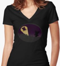 Pipo-Kun - City Silhouette Women's Fitted V-Neck T-Shirt