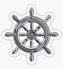 Chrome Style Nautical Wheel Applique Sticker