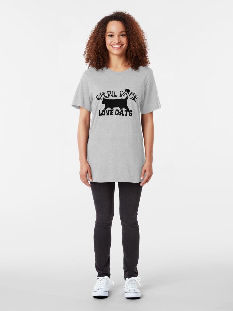 Alternate view of Real Men Love Cats Slim Fit T-Shirt