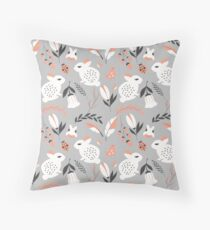 Rabbits and flowers 007 Throw Pillow