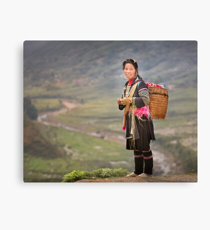 Vietnamese woman in landscape Canvas Print