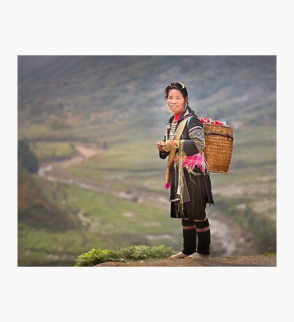 Vietnamese woman in landscape Photographic Print