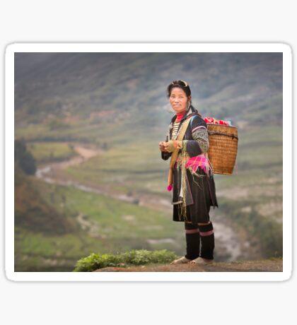 Vietnamese woman in landscape Sticker