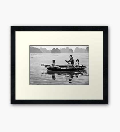 Rowing in Halong Bay Framed Print