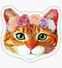 Flower Crowned Orange Tabby Cat Sticker