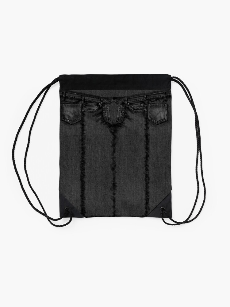 Alternate view of Classic Style Black Jeans Drawstring Bag