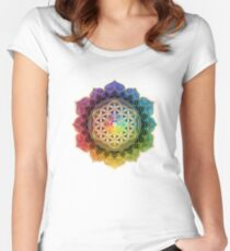 Rainbow Flower of Life with Lotus Fitted Scoop T-Shirt