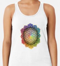 Rainbow Flower of Life with Lotus Racerback Tank Top