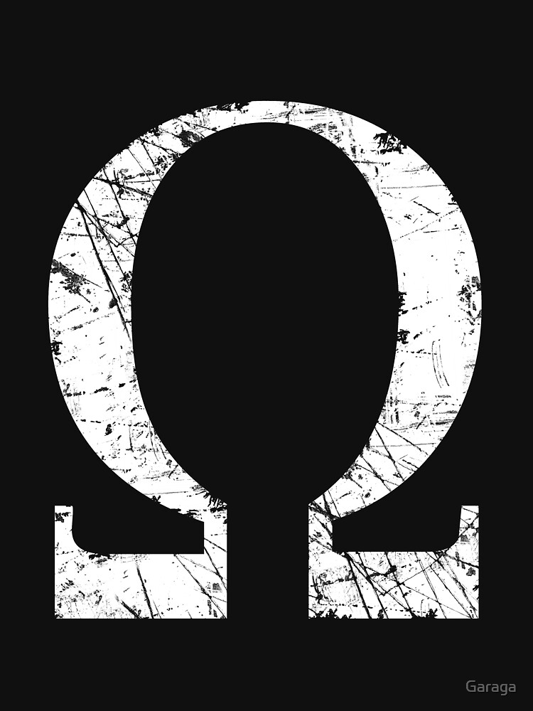 Omega Greek Letter Symbol Grunge Style Womens Fitted Scoop T Shirt