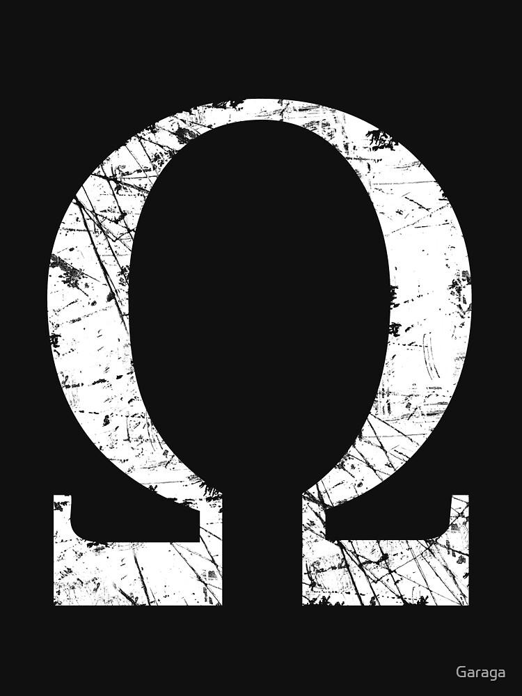 Omega Greek Letter Symbol Grunge Style
