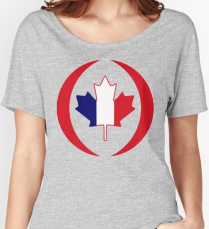 French Canadian Multinational Patriot Flag Series Relaxed Fit T-Shirt