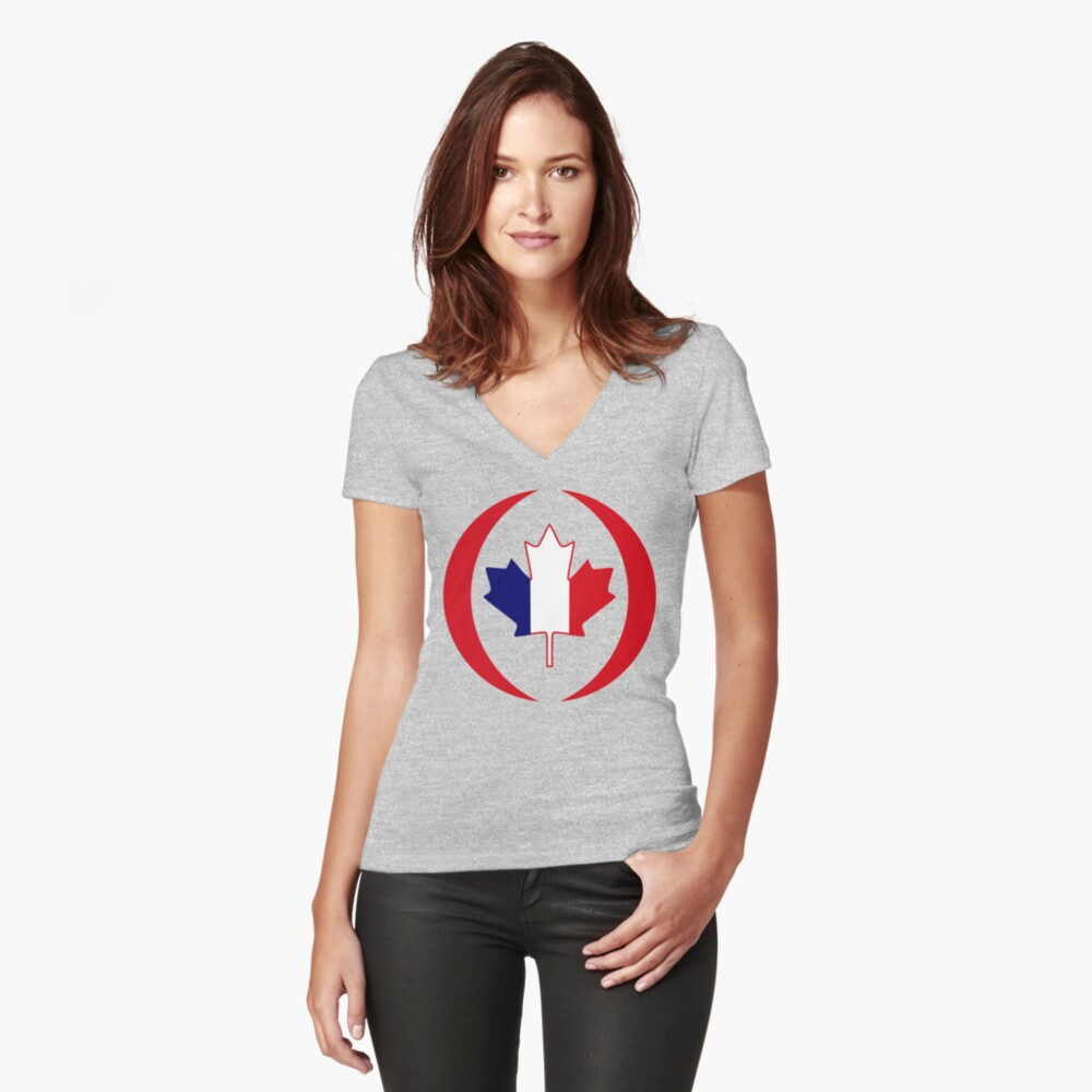 French Canadian Multinational Patriot Flag Series Fitted V-Neck T-Shirt