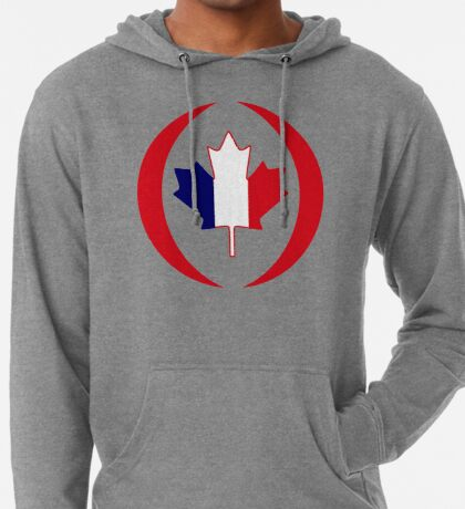 French Canadian Multinational Patriot Flag Series Lightweight Hoodie