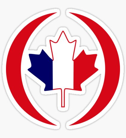 French Canadian Multinational Patriot Flag Series Sticker