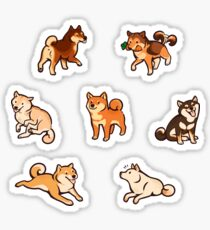shibes in blue Sticker