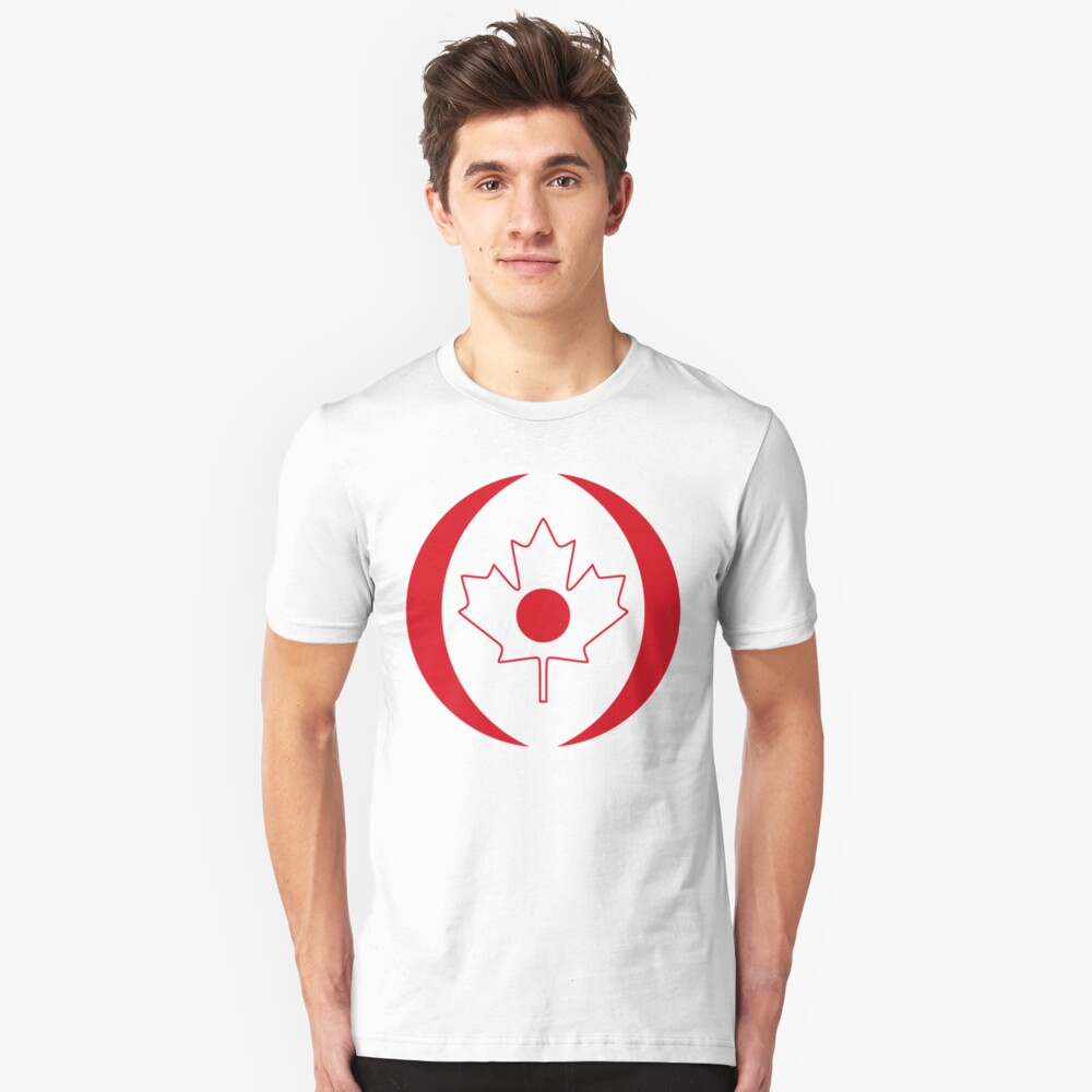 Japanese Canadian Multinational Patriot Flag Series Slim Fit T-Shirt