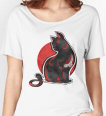 Artistic Abstract Black Cat with 3D effect Women's Relaxed Fit T-Shirt